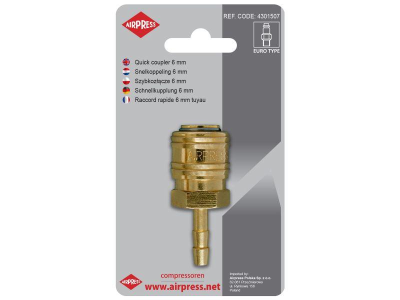 Druckluftkupplung Schlauchanschluss Euro 6 mm