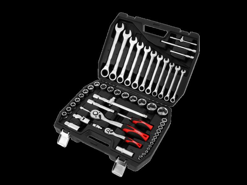 Werkzeugkoffer Steckschlüsselsatz 54-teilig mit Werkzeug aus Chrom-Vanadium