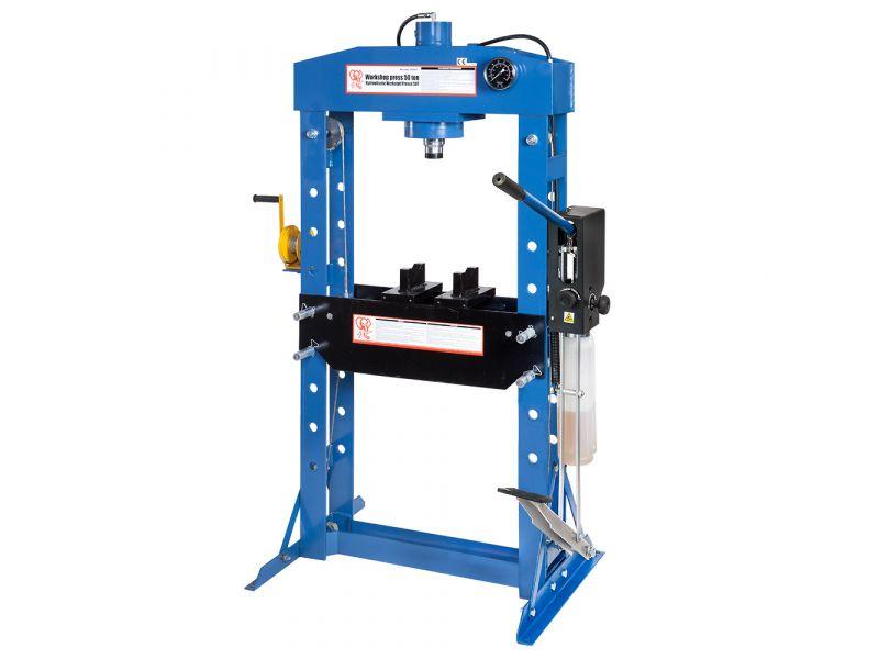 Werkstattpresse / Hydraulikpresse 50 Tonnen 10 Tischpositionen 190 mm Hublänge