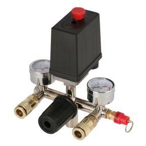 Druckschalter Druckregler Sicherheitsventil 2x Manometer 2x Druckluftkupplung