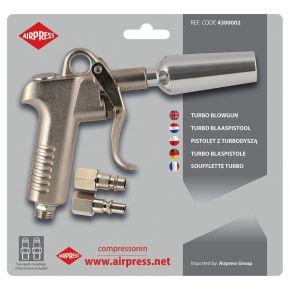 Druckluftpistole Turbo mit Stecknippel Euro und Orion in Blister