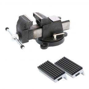 """Schraubstock Stahl 3"""" 75 x 120 mm + Schutzbacken Gummi 75 mm Plug & Play"""