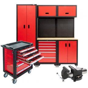 Modulare Werkstatteinrichtung mit Werkstattwagen 217-teilig und Schraubstock Plug & Play
