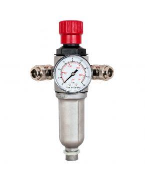 """Wartungseinheit Öl-/Wasserabscheider und Druckminderer 3/8"""" 10 bar mit 2 Druckluftkupplungen"""